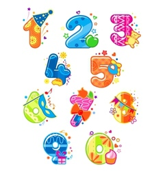 Cartoon digits and numbers with toys vector image vector image