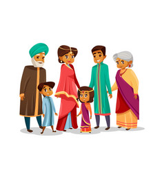 cartoon indian family in national costume vector image