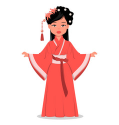 chinese girl character in beautiful traditional vector image vector image