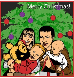Family opening Christmas gifts vector image