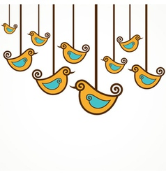 Funny yellow birds on the strings vector image