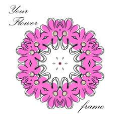 pink floral frame vector image