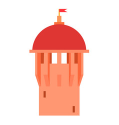 red ancient dome of the castle icon cartoon style vector image