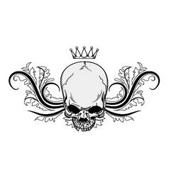 skull with floral vintage t-shirt design vector image vector image