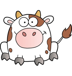 White Cow Cartoon Mascot Character vector image