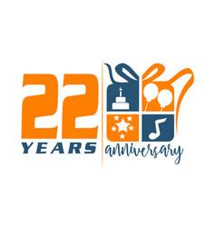 22 year gift box ribbon anniversary vector