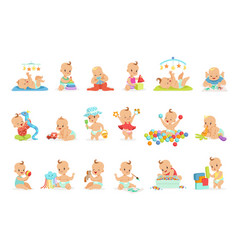 Adorable girly cartoon babies playing with their vector