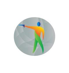Air Pistol Shooting Circle Retro vector