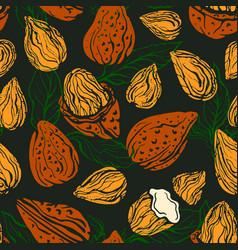 Almond nut seamless pattern background vector