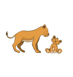 animals of zoo the lion family in cartoon style vector image