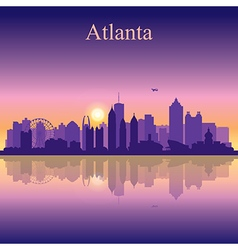Atlanta silhouette on sunset background vector