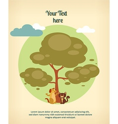 Background with tree dogand cat vector