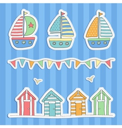 Beach huts bunting and sailing boats vector image