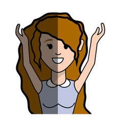 Beautiful woman with blouse and hands up vector