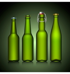 Beer bottle clear set with no label green glass vector