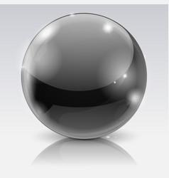 Black glass ball 3d shiny sphere vector