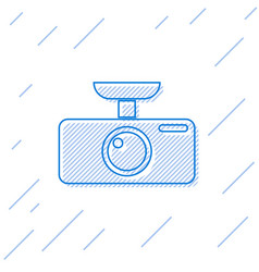 Blue car dvr line icon isolated on white vector
