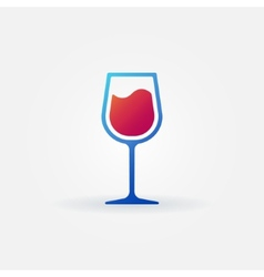 Blue glass of red wine icon vector image