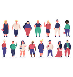 body positive people plus size male and female vector image