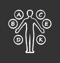 Body vitamins chalk icon a b c d e k vector