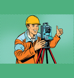 Builder surveyor with a theodolite optical vector
