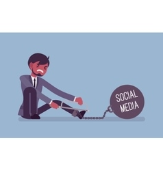 Businessman chained with a metall weight Social vector