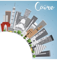 Cairo skyline with gray buildings vector