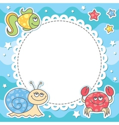 Card with sea creatures vector