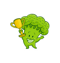 cartoon broccoli character golden cup vector image