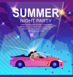 Cartoon poster inviting to summer night party vector