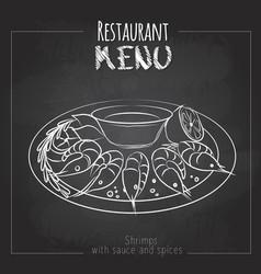 Chalk drawing menu design seafood shrimps vector