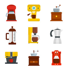 coffee maker pot espresso icons set flat style vector image