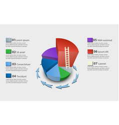 creative colorful 3d pie chart vector image