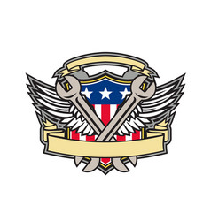 crossed wrench army wings american flag shield vector image