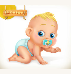 Cute kid baby 3d icon vector