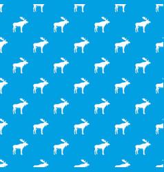 deer pattern seamless blue vector image