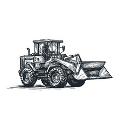 dozer bulldozer tractor sketch excavation work vector image