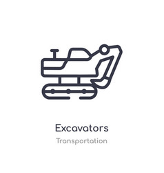 Excavators outline icon isolated line from vector
