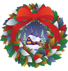 Fairy Christmas wreath vector