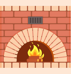 Fireplace with fire burning inside brick arch vector