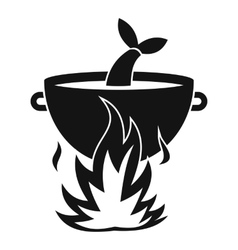 Fish soup on a fire icon simple style vector image