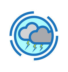 Flat color thunderstorm icon vector