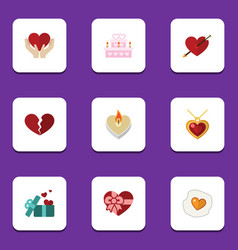 flat icon passion set of fire wax heart gift and vector image