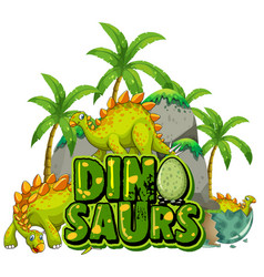 Font design for word dinosaurs with dinosaurs vector
