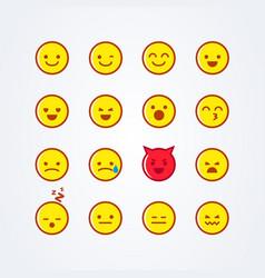 funny cute flat style emoji emoticon icon set vector image