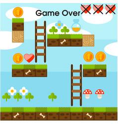 game over video platform game interface design bac vector image