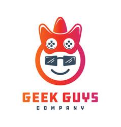 geek gaming logo design vector image