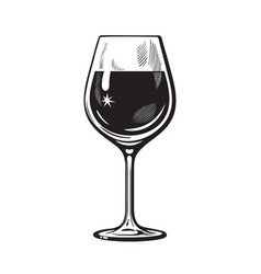glass wine in vintage engraving style vector image