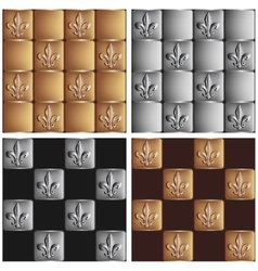 gold and silver seamless patterns royal lily set vector image
