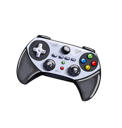 Grey gamepad game controller hand drawn vector